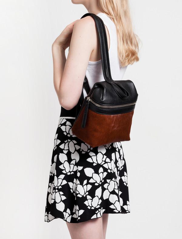 Kara Calf Hair Small Backpack Brown