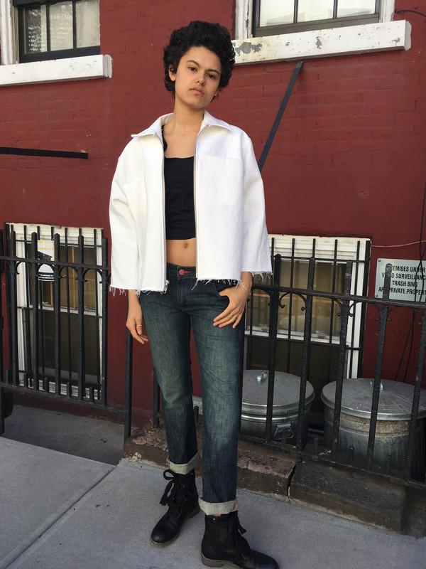 Alexa Stark White Denim Jacket