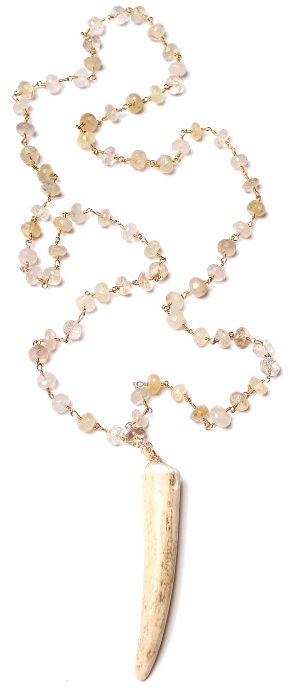 James and Jezebelle Rutilated Lemon Quartz and Antler Necklace