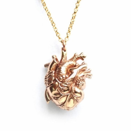 Justine Brooks Anatomical Heart Necklace Bronze Small