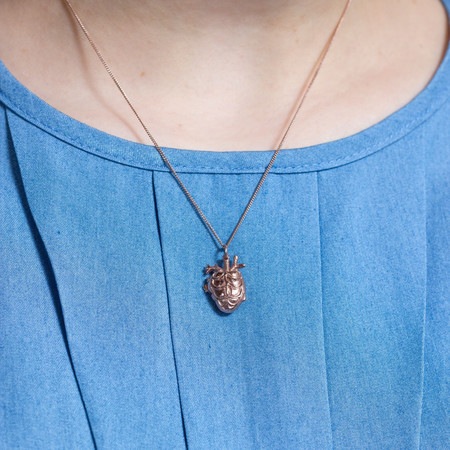 Justine Brooks Anatomical Heart Necklace Rose Gold Tiny