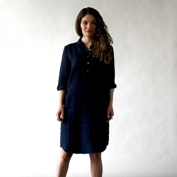 Nuthatch Shirt Dress in Indigo Washed Linen