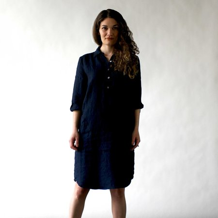Nuthatch Shirt Dress in Indigo Washed Linen