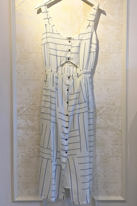 Roseanna Snap Front Stripe Cutout Dress