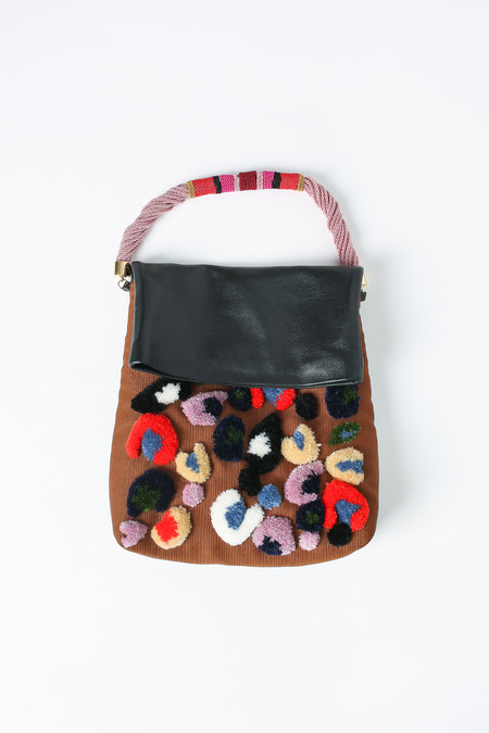 Rachel Comey Ran embroidered handbag in mauve and black