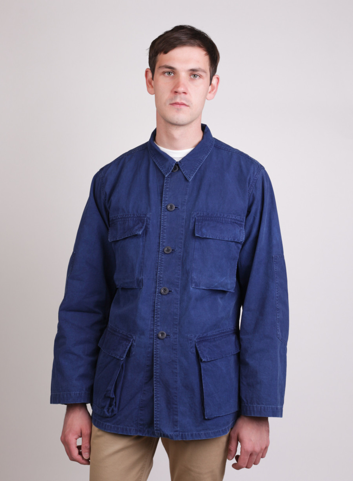 Blue Blue Japan Indigo Hand Dyed Cotton Poplin Four Pocket Shirt ...