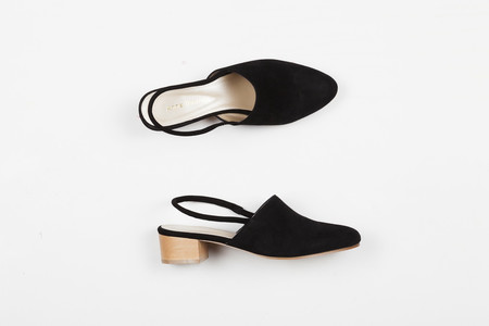 Anne Thomas Williamsburg Mules Black Suede