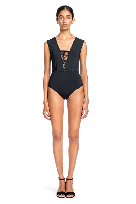 Beth Richards Lane One Piece - Black Lace V-NECK ONE PIECE WITH LACE INSERT