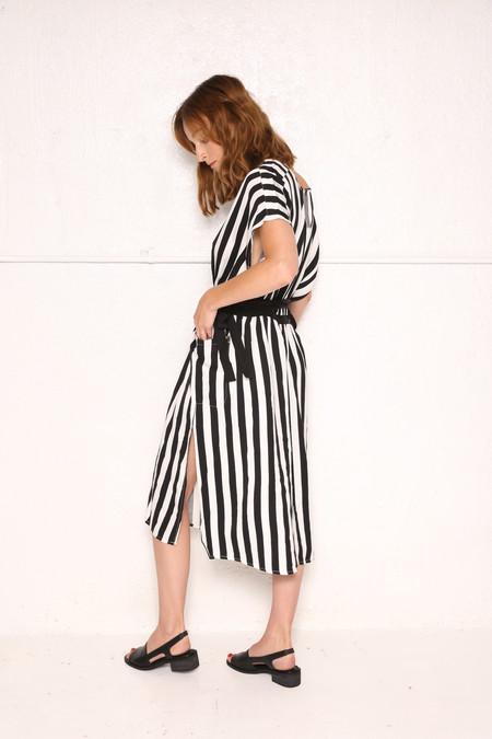 Intentionally Blank COURT Dress in Black White Stripe