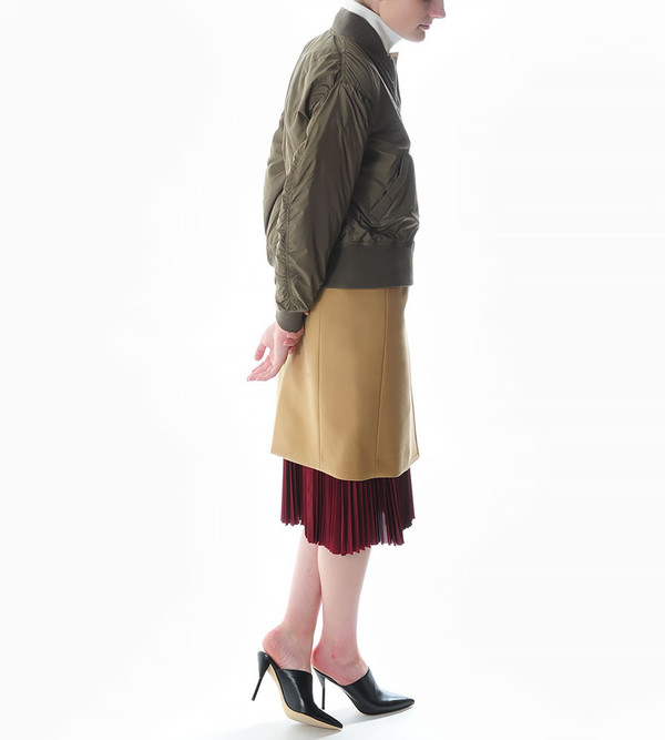 Sacai Luck Combination Puffer Jacket with Wool Coat in Camel