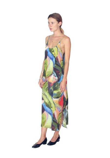 Strathcona Painted Palm Silk Slip Dress