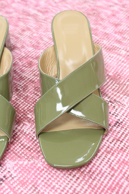 Maryam Nassir Zadeh MNZ Lauren Slide Moss Green Patent Leather