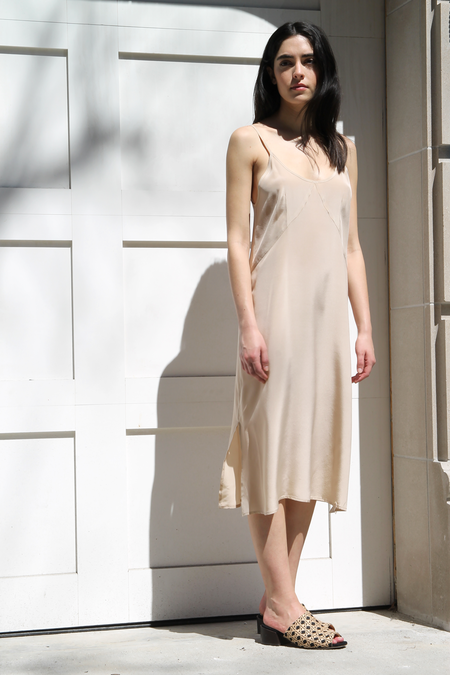 HOUSE DRESS CURVED SEAM SLIP DRESS