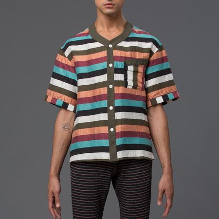 THADDEUS O'NEIL - Striped Linen Beach Shirt - Multi Stripe