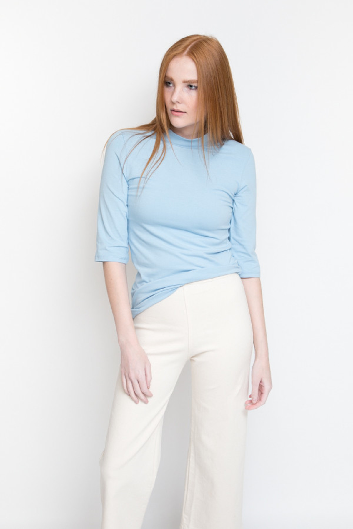Just Female Pop Neck Blouse / Powder Blue from PARC | Garmentory
