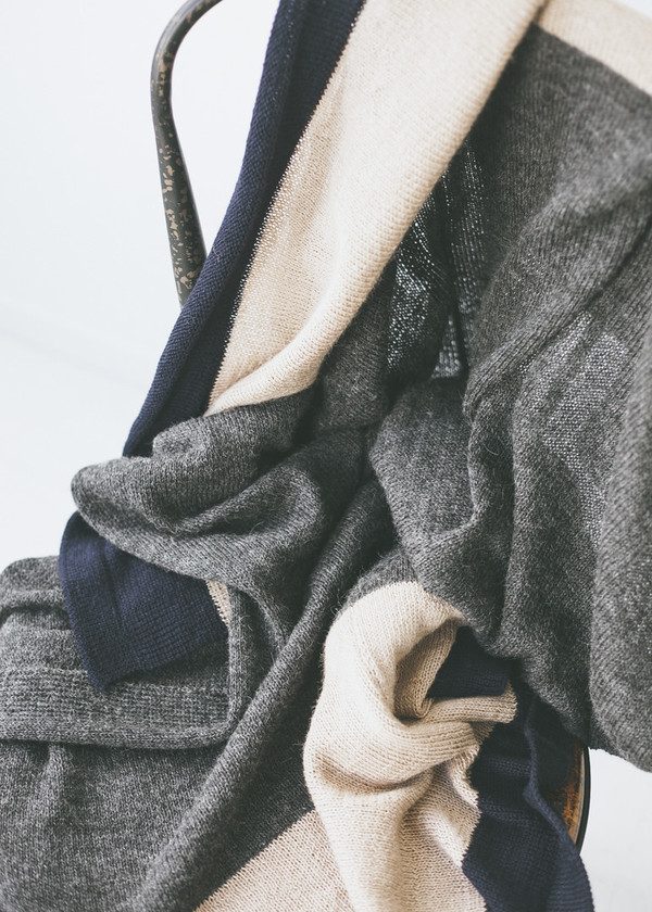 Bare Knitwear Refugee Throw - Charcoal/Camel/Navy