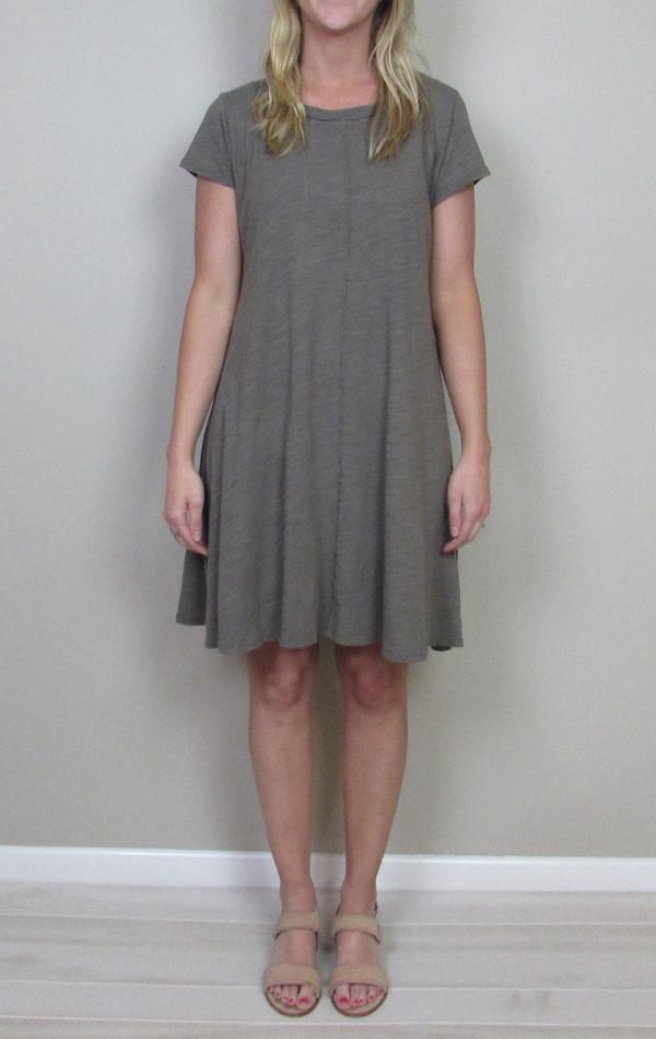 Heather cotton & gauze panel back dress