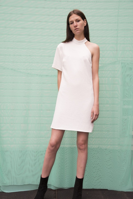 Nomia Cut-Out Shoulder Dress - Chalk