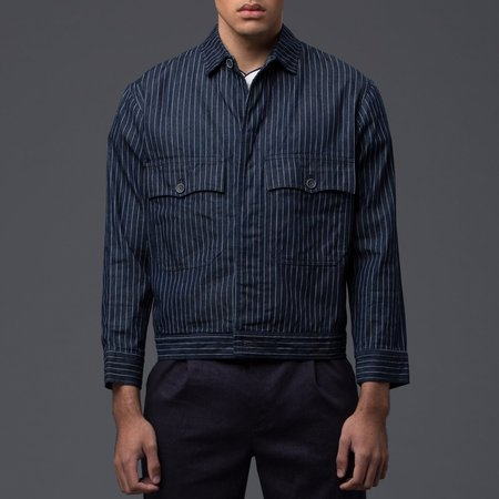 KRAMMER & STOUDT - Denim Carson Coat - Navy Pinstripe