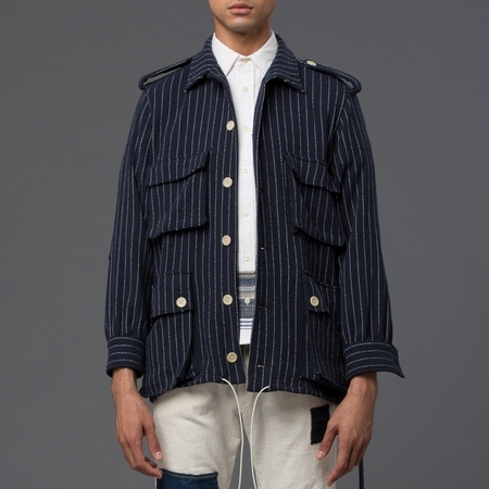 PALMIERS DU MAL - Safari Knit Jacket - Navy and White Stripe