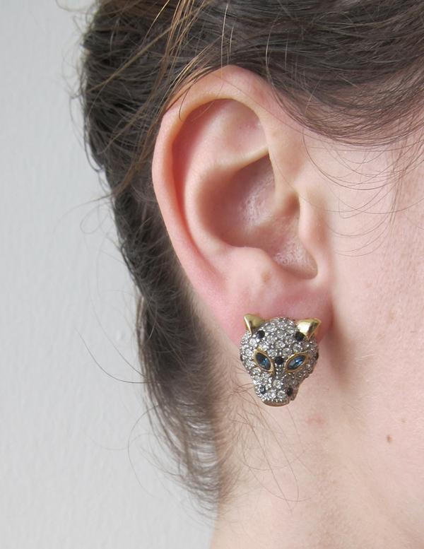 Rhinestone leopard earrings
