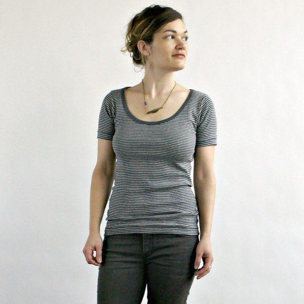 Curator Maisie Tee in Grey and White Stripe