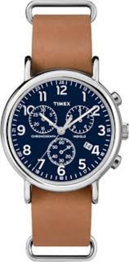 Timex Weekender Chrono Blue Dial Tan Strap