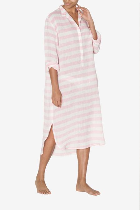 The Sleep Shirt Ankle Length Sleep Shirt Pink Horizontal Stripe