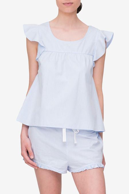 The Sleep Shirt Flounce Top Blue Cotton Stripe