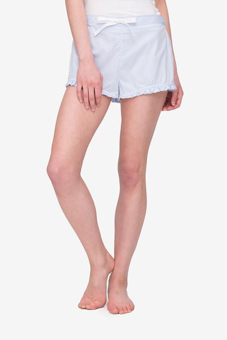 The Sleep Shirt Ruffle Short - Blue Cotton Stripe
