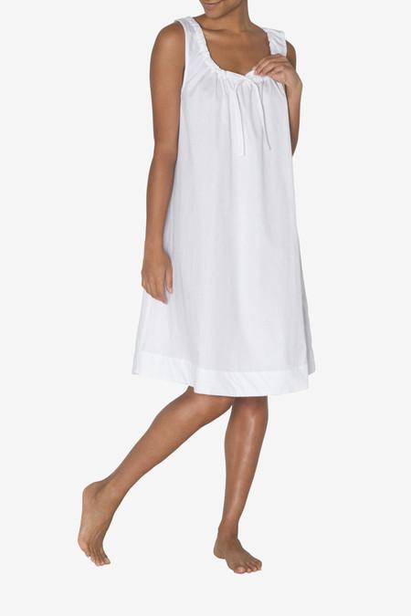 The Sleep Shirt Sleeveless Nightie White Cotton Stripe