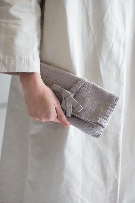 Cosmic Wonder Sashiko Clutch Bag in Gray