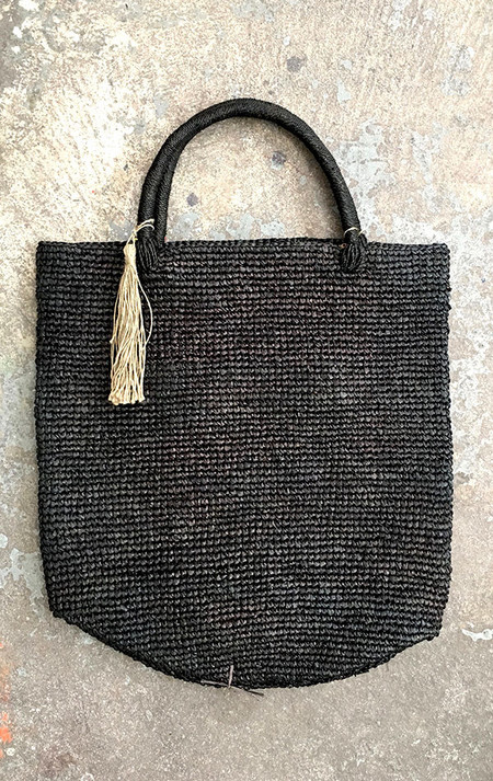 Far & Wide Collective Sisal Beach Tote in Black