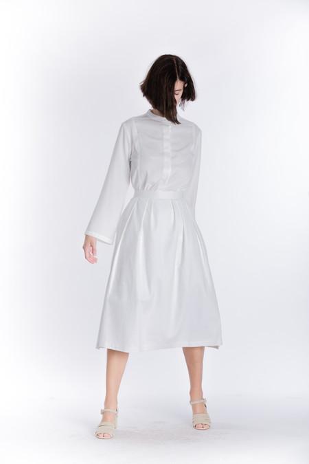 Wolcott : Takemoto Denim Audrey Skirt in White