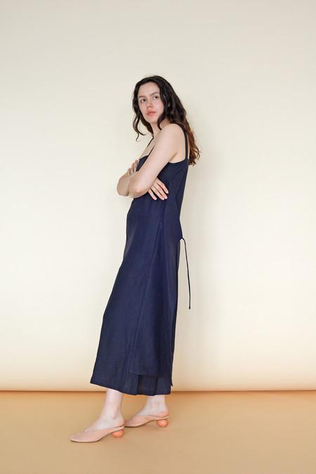 Wolcott : Takemoto Linen Carol Jumpsuit in Navy