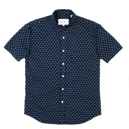 Corridor Short Sleeve Woven Shirt - Navy Handblock Dot