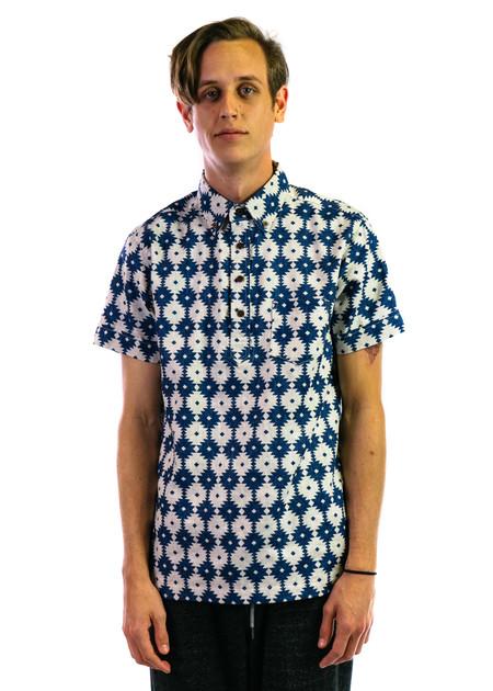 3Sixteen Short Sleeve Popover - Blue Aztec Print