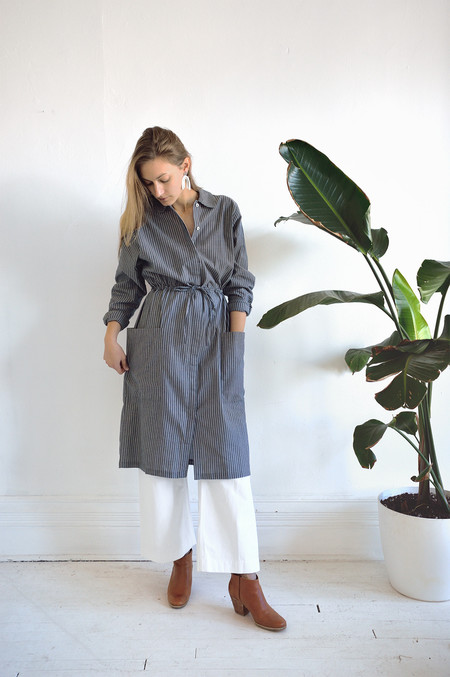 Kowtow Detour Shirt Dress in Chambray Stripe
