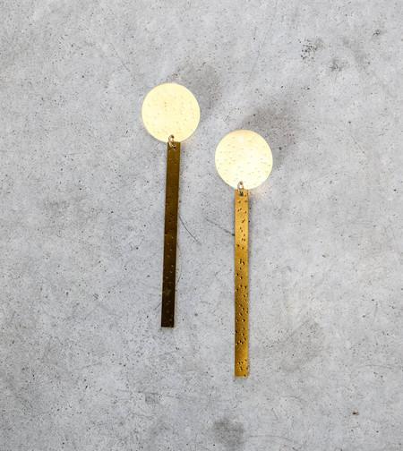 Modern Weaving Sundial Earrings in Brass