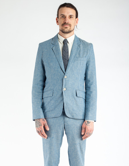 18 Waits Desert Blues Blazer Blue Herringbone Linen