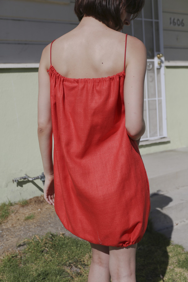 Electric Feathers Convertible Drawstring Dress/Top in Vermillion