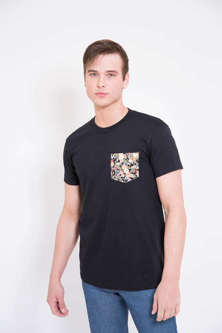 Naked and Famous Black Festival Flower Print Pocket Tee