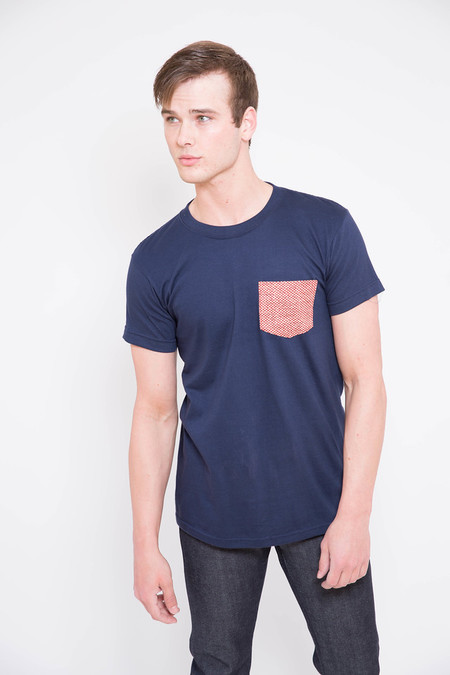 Naked and Famous Red Kimono Print Pocket Tee