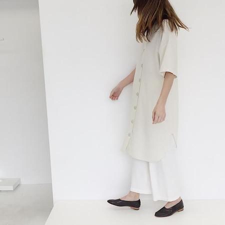 Laurs Kemp Raw Silk Morgan Shirt Dress - Ivory