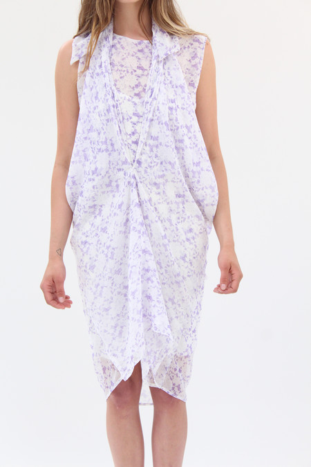 Beklina Silk Sapporo Wrap Dress Grape Lace Print