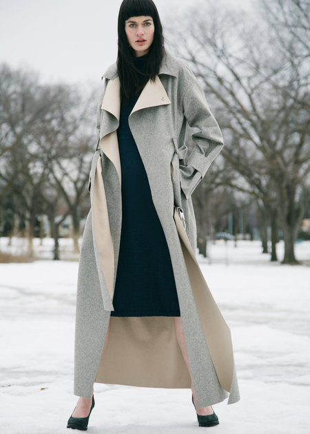 Urbanovitch Floor Length Bonded Wool Coat