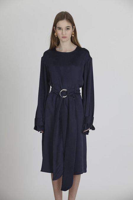 Urbanovitch Belted Silk Dress