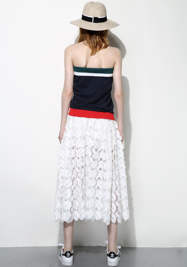 Few Moda White Feather Lace Maxi Skirt