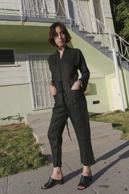Alexa Stark Linen Jumpsuit in Black