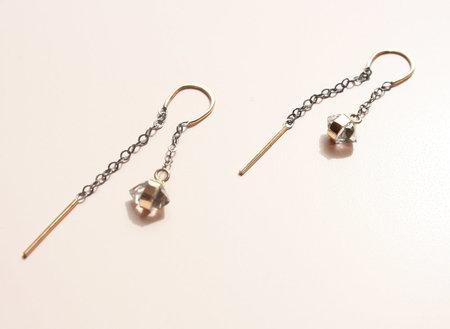 Melissa Joy Manning Herkimer Diamond Chain Earrings